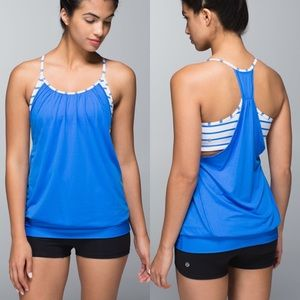 Lululemon Striped Pipe Dream Blue No Limits Tank
